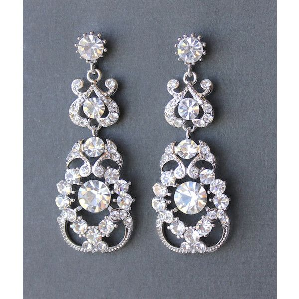 Crystal Bridal Chandelier Earrings Art Deco Bridal Earrings Bridal... ($66) ❤ liked on Polyvore featuring jewelry, earrings, black, weddings, crystal chandelier earrings, bridal chandelier earrings, black earrings, art deco earrings and vintage black earrings