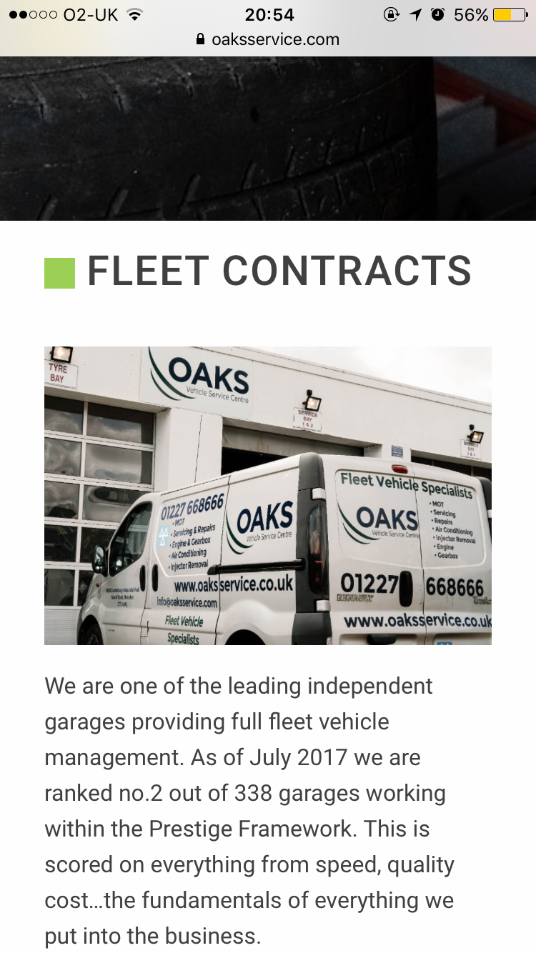 If You Have A Fleet Of Vehicles Oaks Vehicle Service Centre Offers