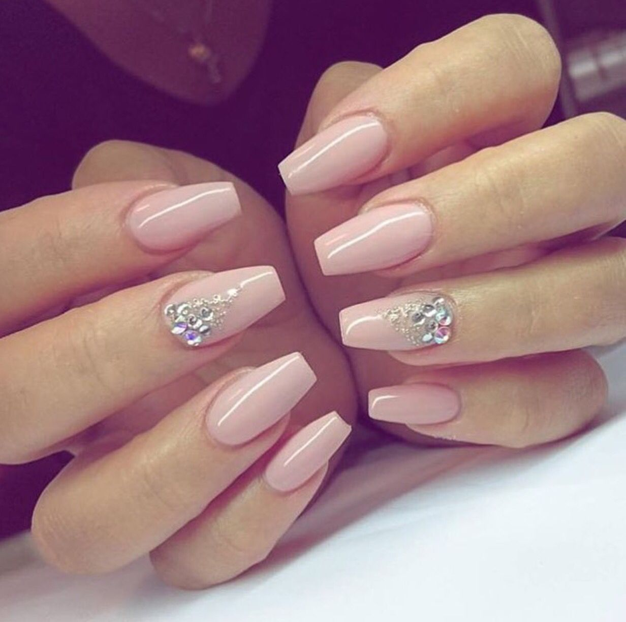 Almond with Gems - Nail Art Gallery