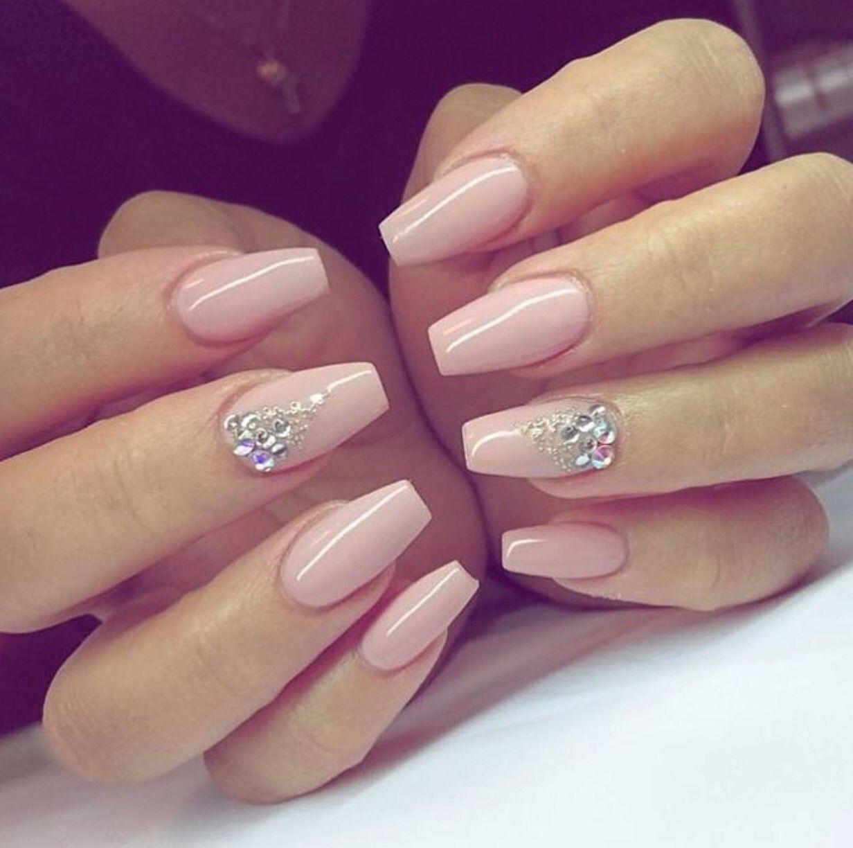 Light Pink Gel Nails With Design