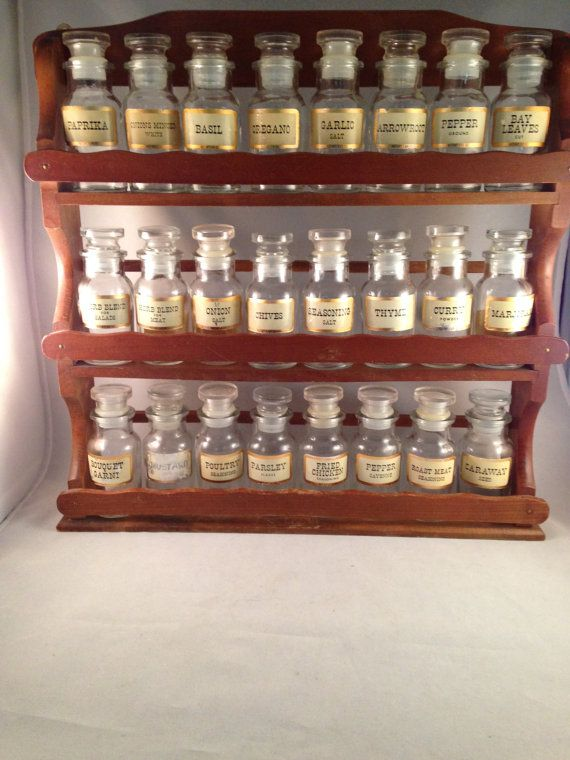 Vintage Large Spice Rack With 24 Spice Jars By