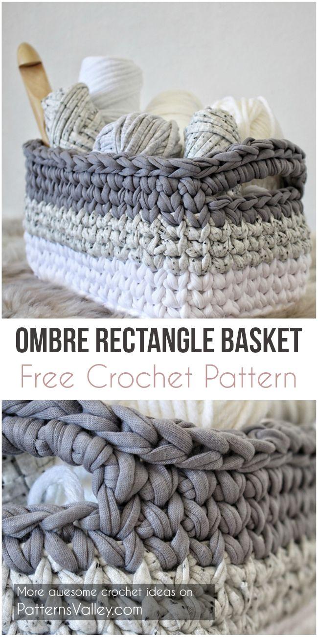Ombre Rectangle Basket - Free Crochet Pattern | Croitorie