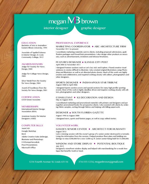 Custom Resume Template Color Background By Rbdesign2 On Etsy 35 00 Resume Templates Resume Design Resume