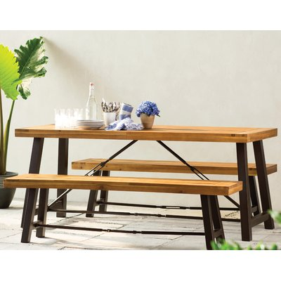 Lunsford 3 Piece Wood Picnic Table Joss Main