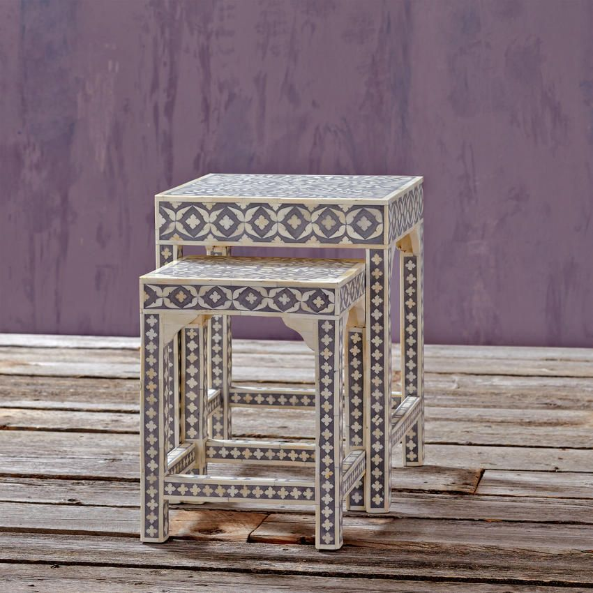 Bone Inlay Nesting Tables, Set Of 2   Eclectic   Side Tables And Accent  Tables   Cost Plus World Market