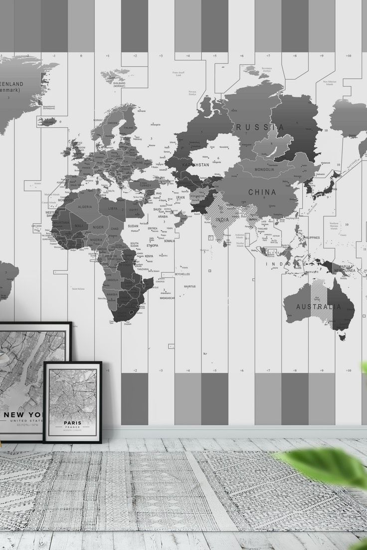 World Time Zones Wall Mural   Wallpaper