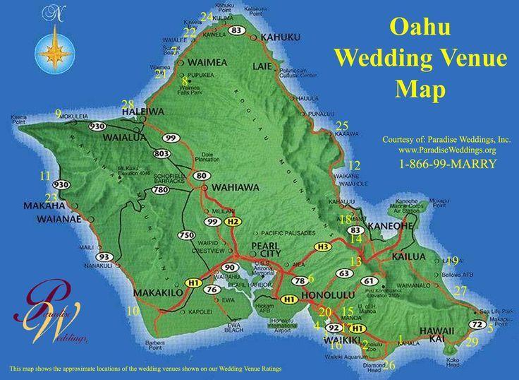 Oahu Hawaii Oahu Wedding Venue Map Oahu Hawaii Mappery