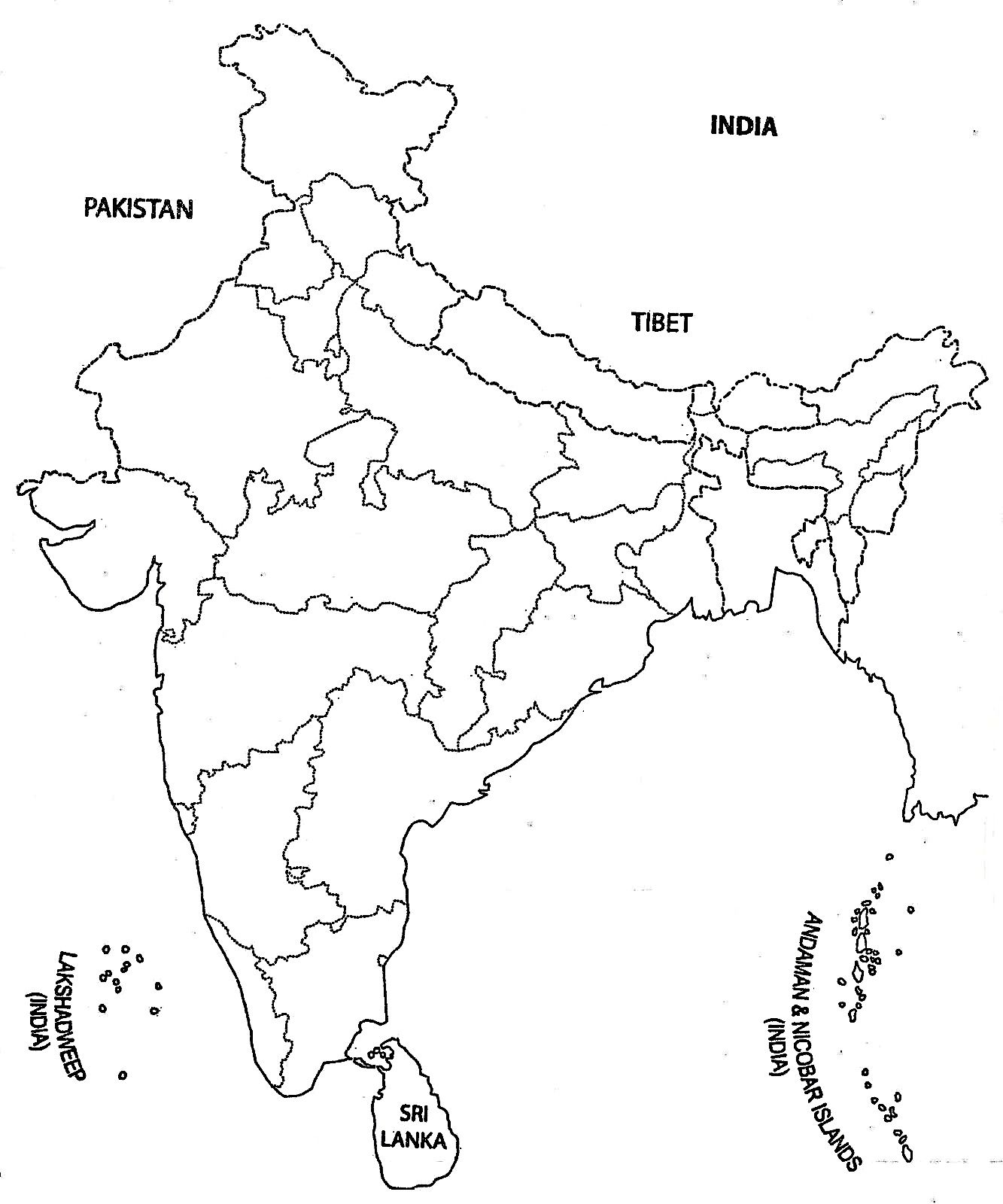 India Map Outline A4 Size Map Of India With States Pinterest