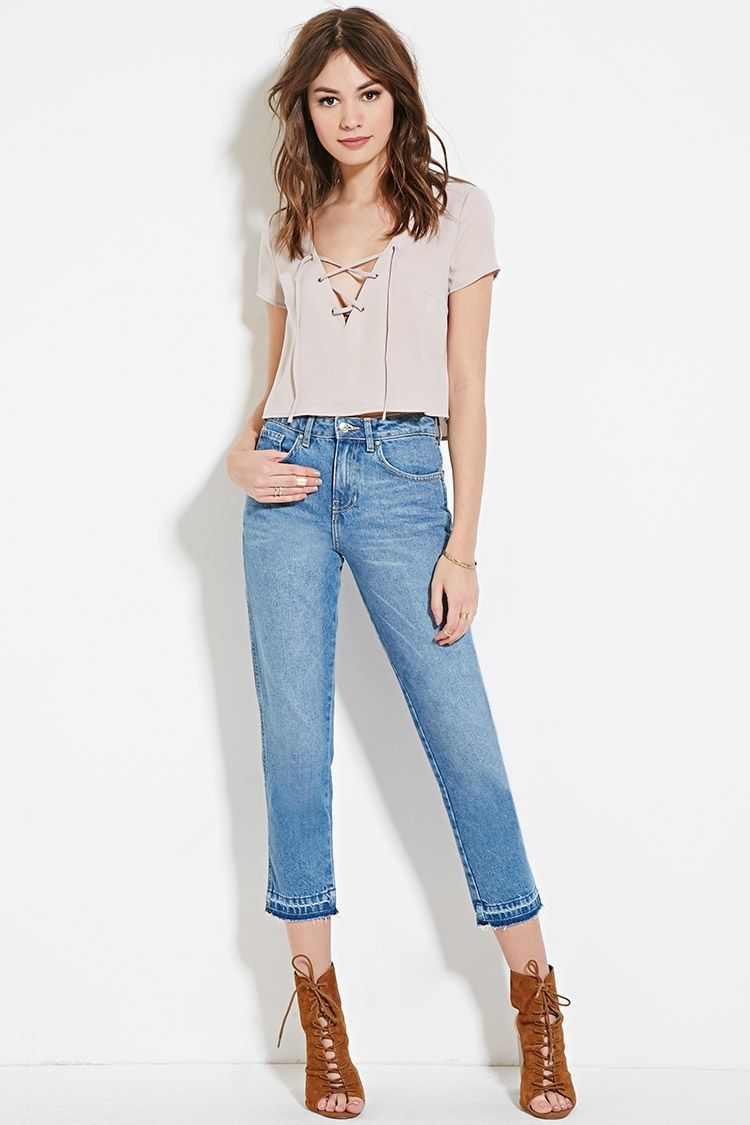 Mid-Rise Straight Crop Jeans