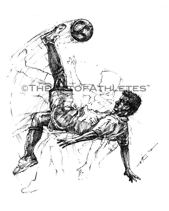 Vincent Ricasio S The Bicycle Kick Drawings Sports Art Art