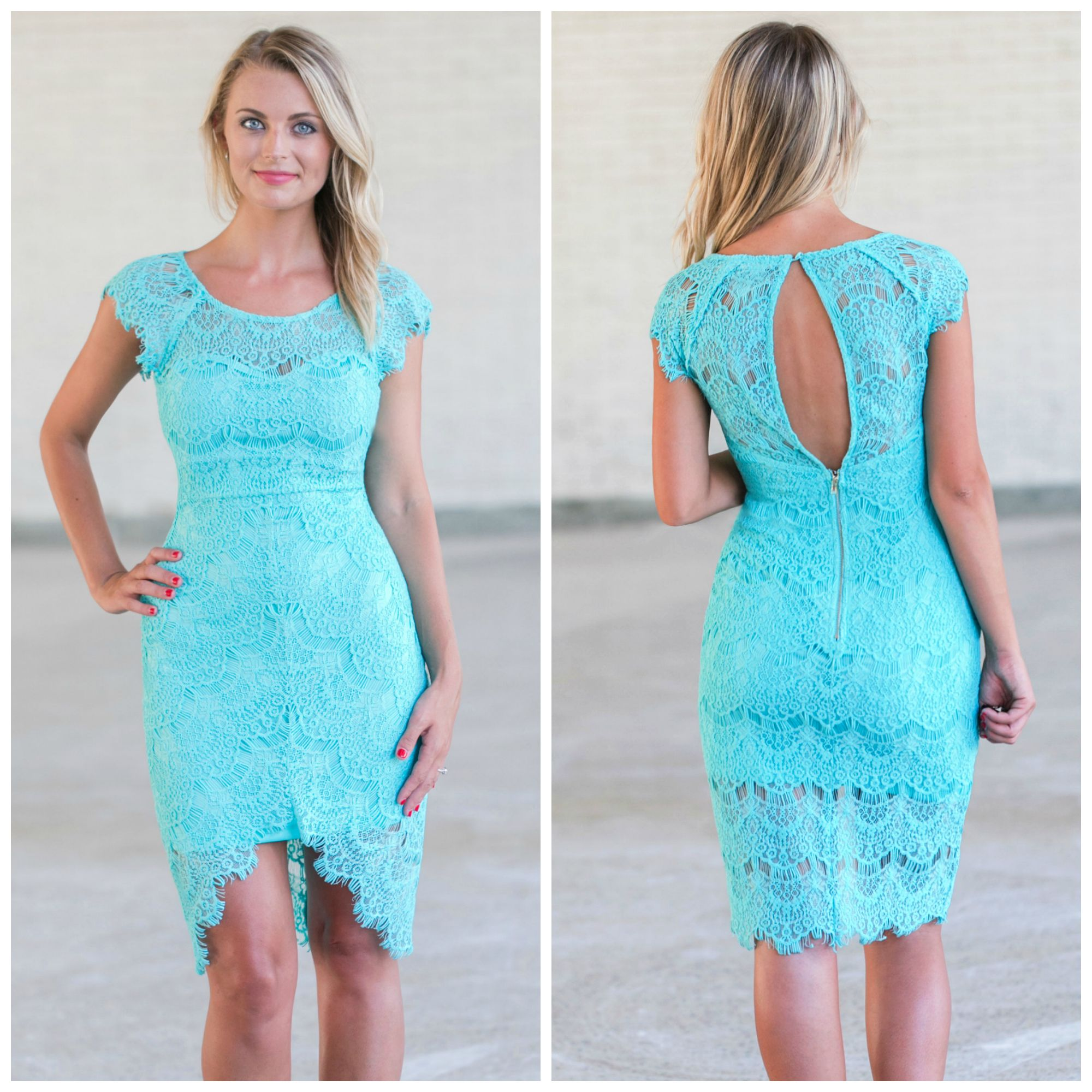 This turquoise lace sheath dress has a cute high low cut! http://ss1 ...