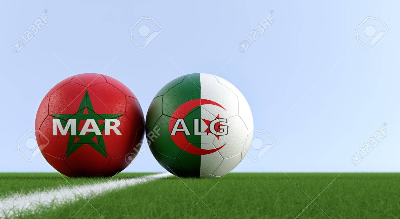 Morocco vs. Algeria Soccer Match - Soccer balls in Moroccos and Algerian national colors on a soccer field. Copy space on the right side - 3D Rendering Stock Photo , #Sponsored, #Moroccos, #balls, #national, #Algerian, #Algeria