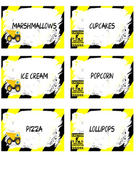 Construction Food Labels