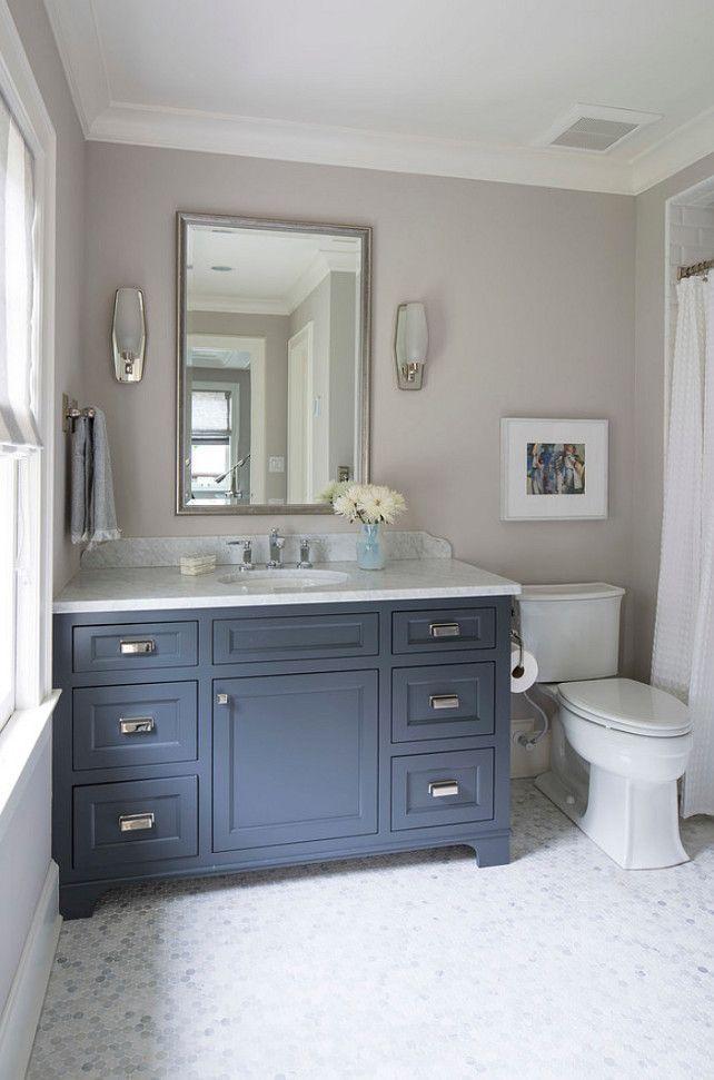 Navy Blue Cabinet Paint Color Benjamin Moore French Beret 1610 Benjamin Moore French Beret Navy Paintcol Boys Bathroom Bathroom Makeover Bathrooms Remodel