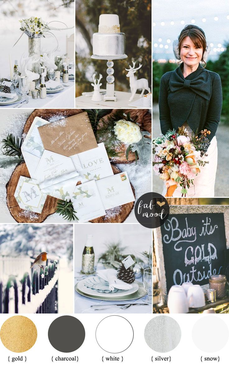 Winter Wonderland Wedding Theme { Charcoal ,white ,gold and silver ...