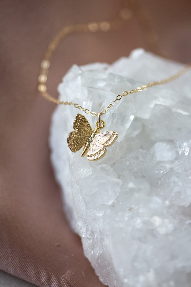 Photo of Our golden butterfly necklace is a dainty reminder that change comes slowly. B…