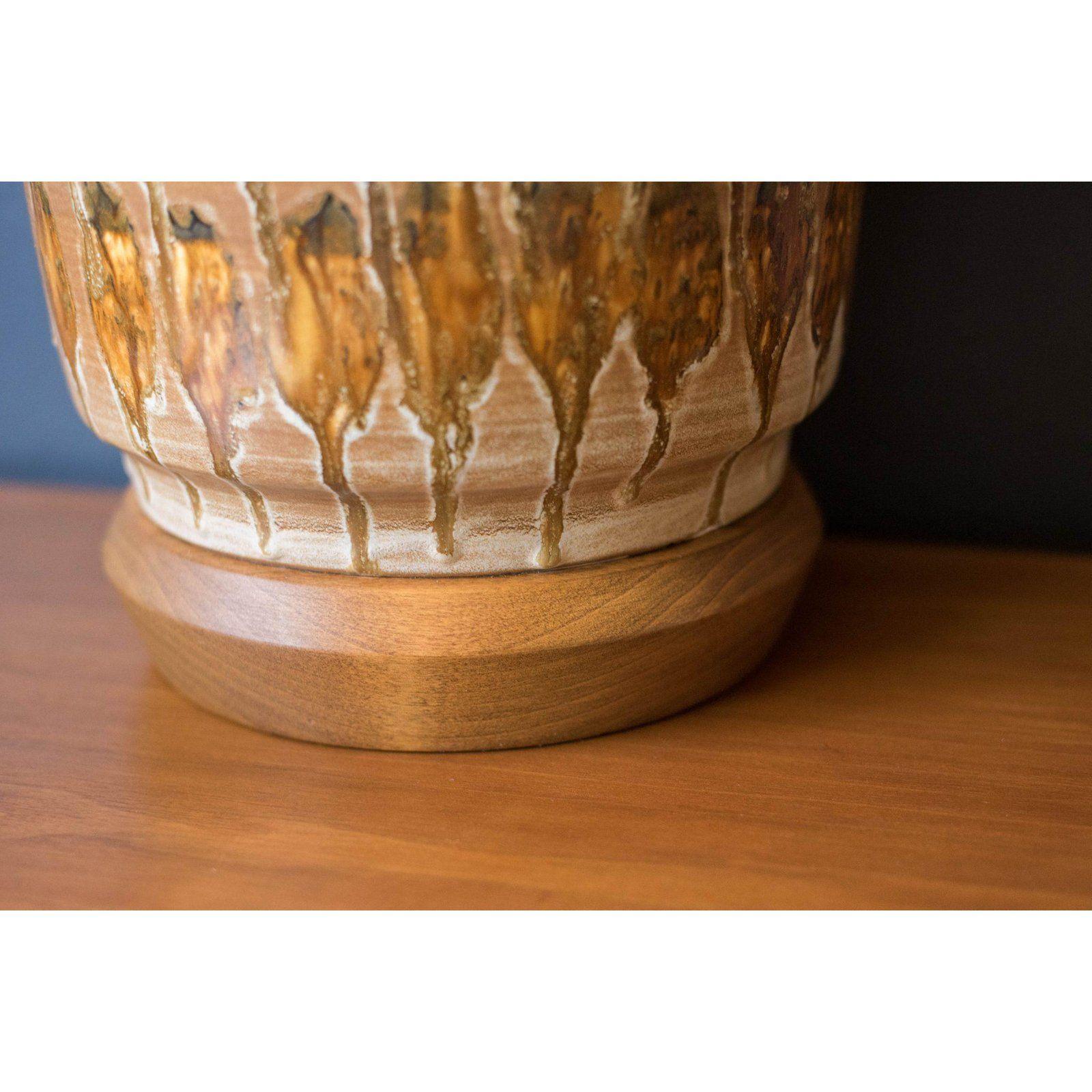 Mid Century Ceramic Pottery Glazed Lamp Mid century