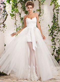 8f313222156c A-linjeformat Axelbandslös Hjärtformad Golvlång Löstagbar Organzapåse  Satäng Bröllopsklänning med Spetsar Pärlbrodering Rosett/-
