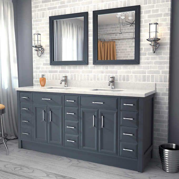 Master Bath Names studio bathe - calais 75 in. pepper grey vanity with mirrors