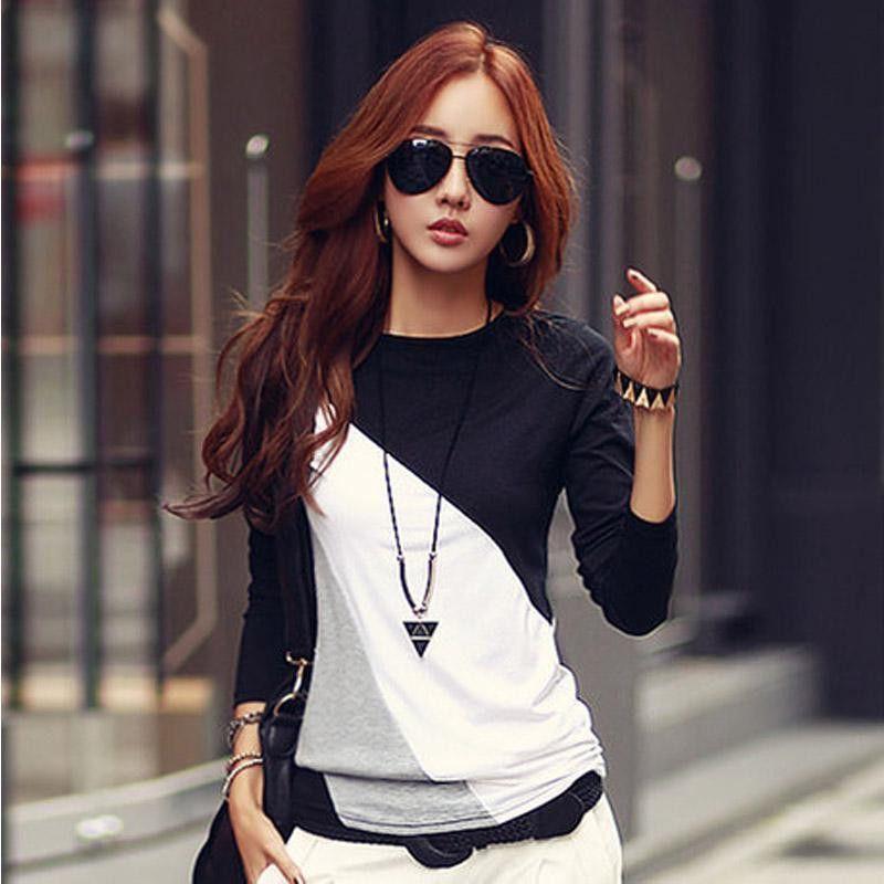 2016 Women T-shirt Long Sleeve Clothes Ropa Tee Shirt Femme Poleras  Camisetas Mujer Black 0e5e0e1c4185