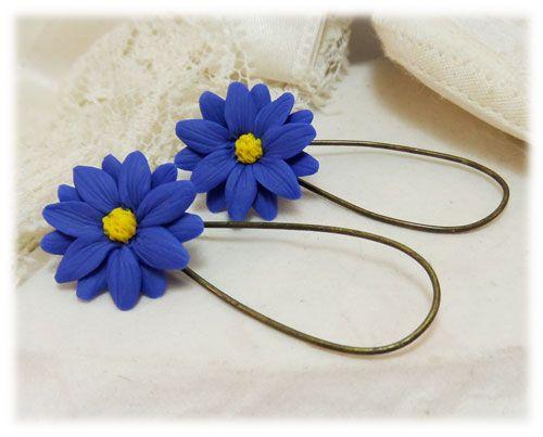 Blue Aster Drop Earrings Blue Aster Dangle Earrings Flower Necklace Aster Flower Flower Jewellery
