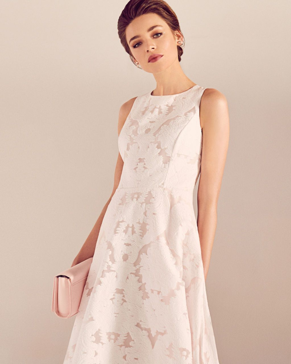 422d2bfd4eab35 Ted Baker Blush Pink ROSHI Burnt out sleeveless dress