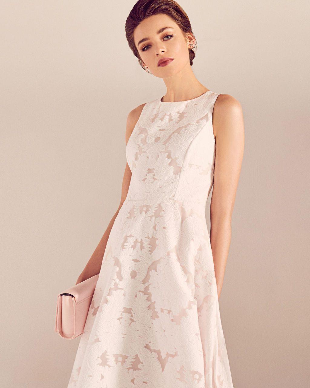 da19f50bddd0 Ted Baker Blush Pink ROSHI Burnt out sleeveless dress