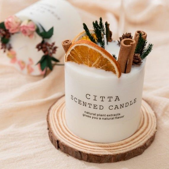 Scented Candle Natural Candles Pine Cone Flowers S