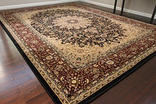Black Traditional Isfahan Dunes High Density 1 Inch Thick Wool 15