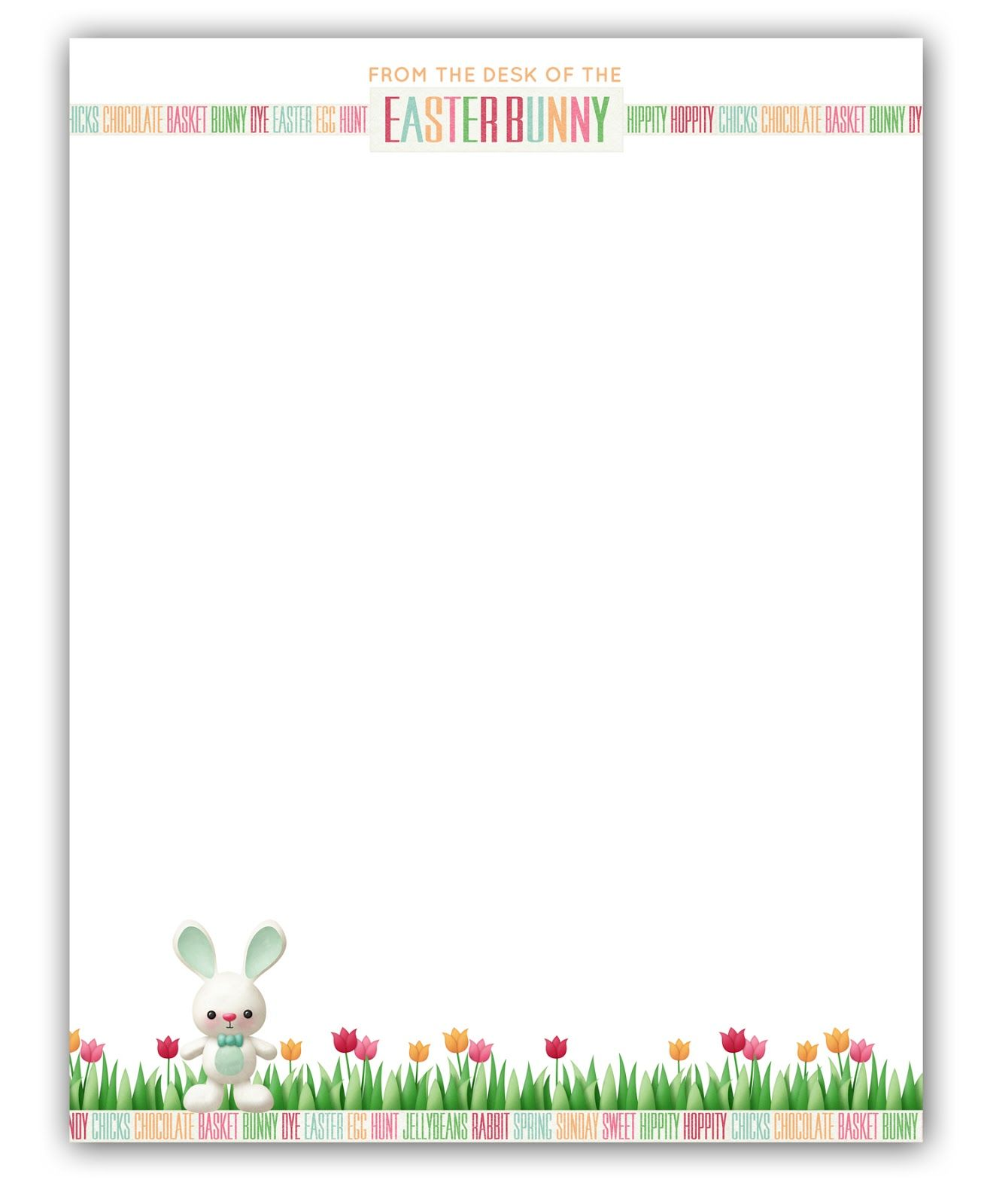 graphic relating to Easter Stationery Printable known as Easter Bunny Stationary Cost-free Printable Printable