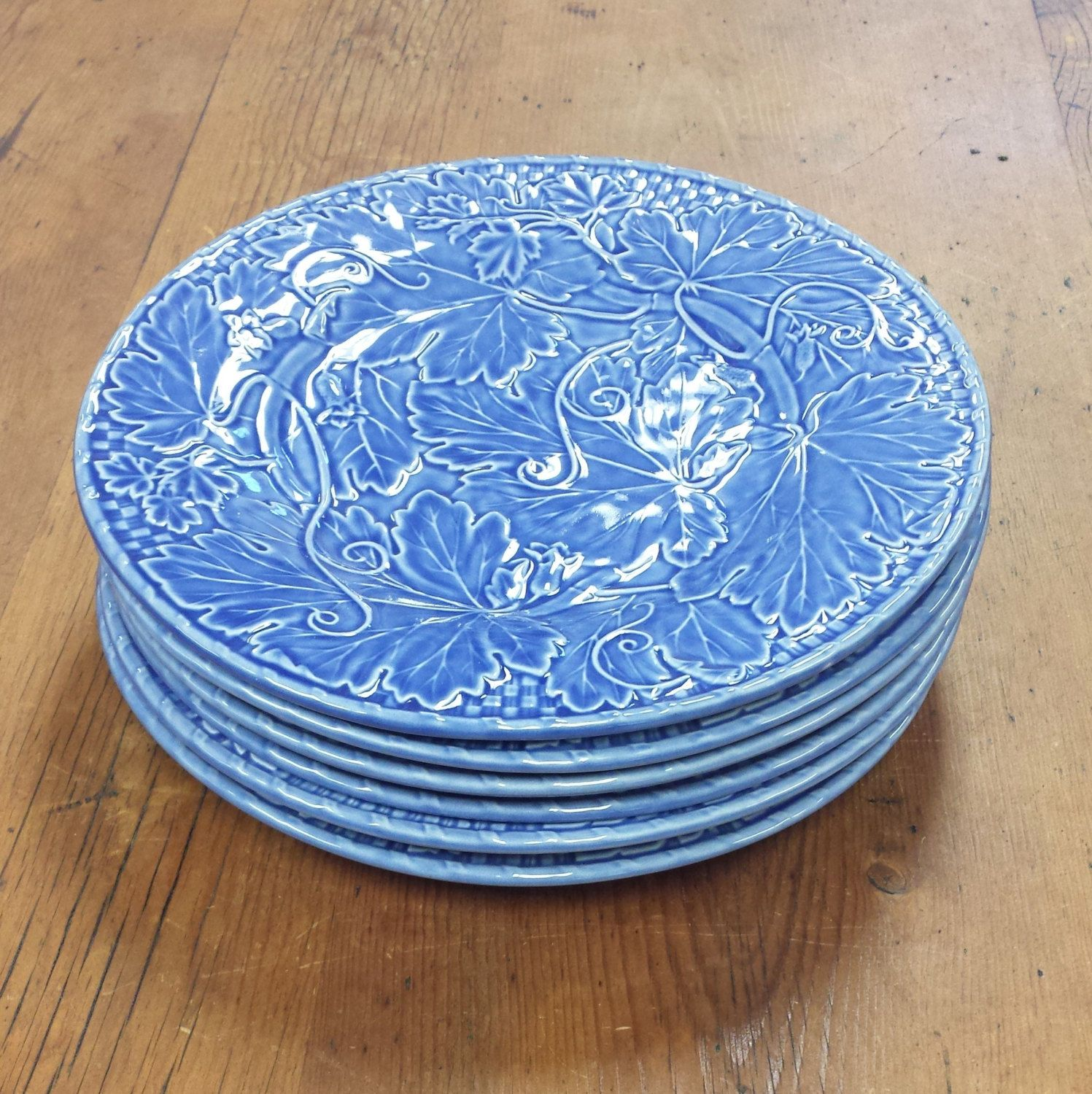 Set Of 6 Dinner Plates Bordallo Pinheiro Vine Blue Made In Portugal Ceramic By Feeneyfinds On Etsy