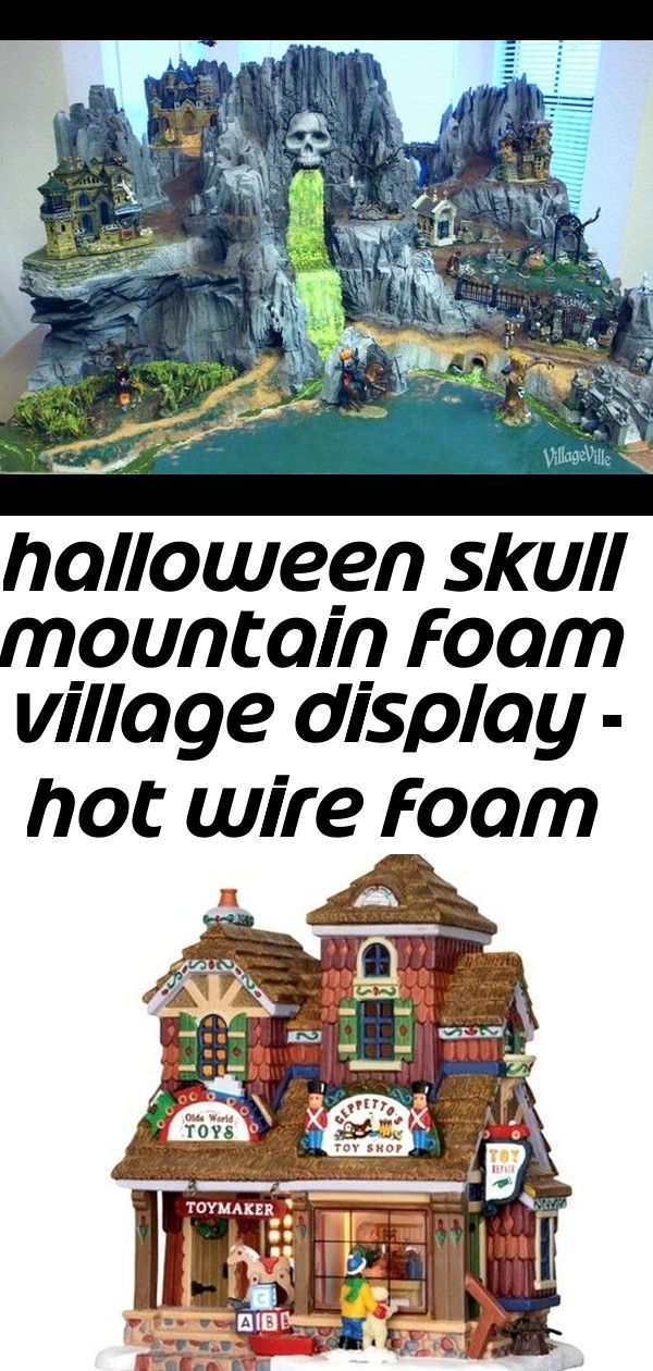 Halloween skull mountain foam village display - hot wire foam factory #halloweenvillagedisplay Foam skull mountain Halloween village display, carved with Hot Wire Foam Factory tools. Work-in-progress photos, and tips and tricks from the artist, too! Image 1 #halloweenvillagedisplay