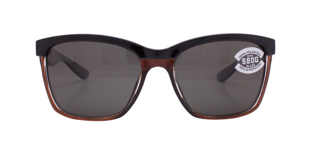 1f511b4a39 Costa Del Mar Anaa ANA 107 OGMGLP Shiny Black Brown Frame   Green Mirror  580G Polarized