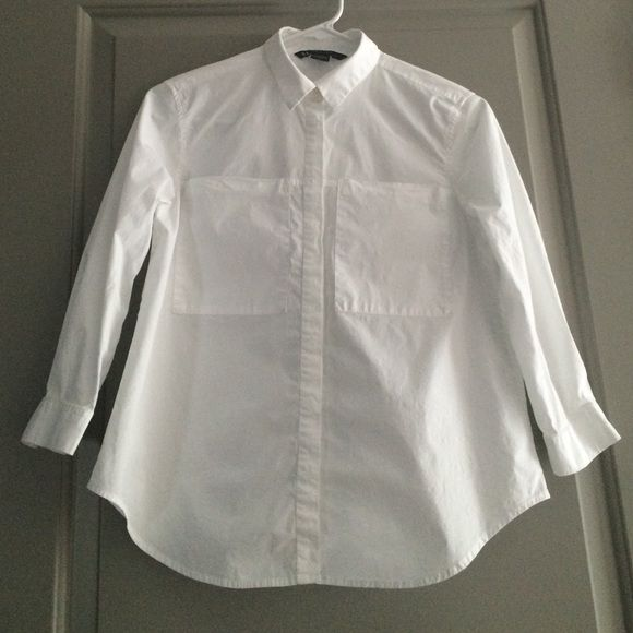 Armani Exchange shirt 3/4 sleeve white shirt. Worn twice for family pictures. Armani Exchange Tops Button Down Shirts