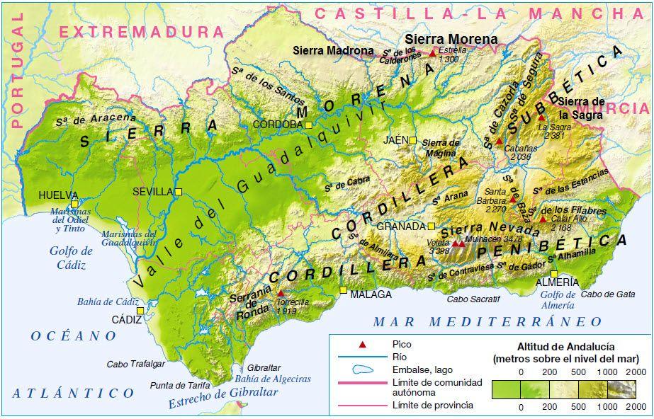 Sierra Morena Mapa Fisico.Andalucia Esta Condicionada Por El Valle Del Guadalquivir Y