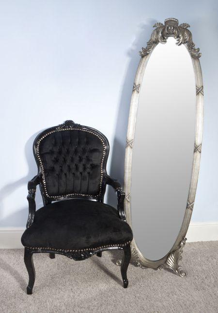 louis black velveteen all black louis style salon chair barok