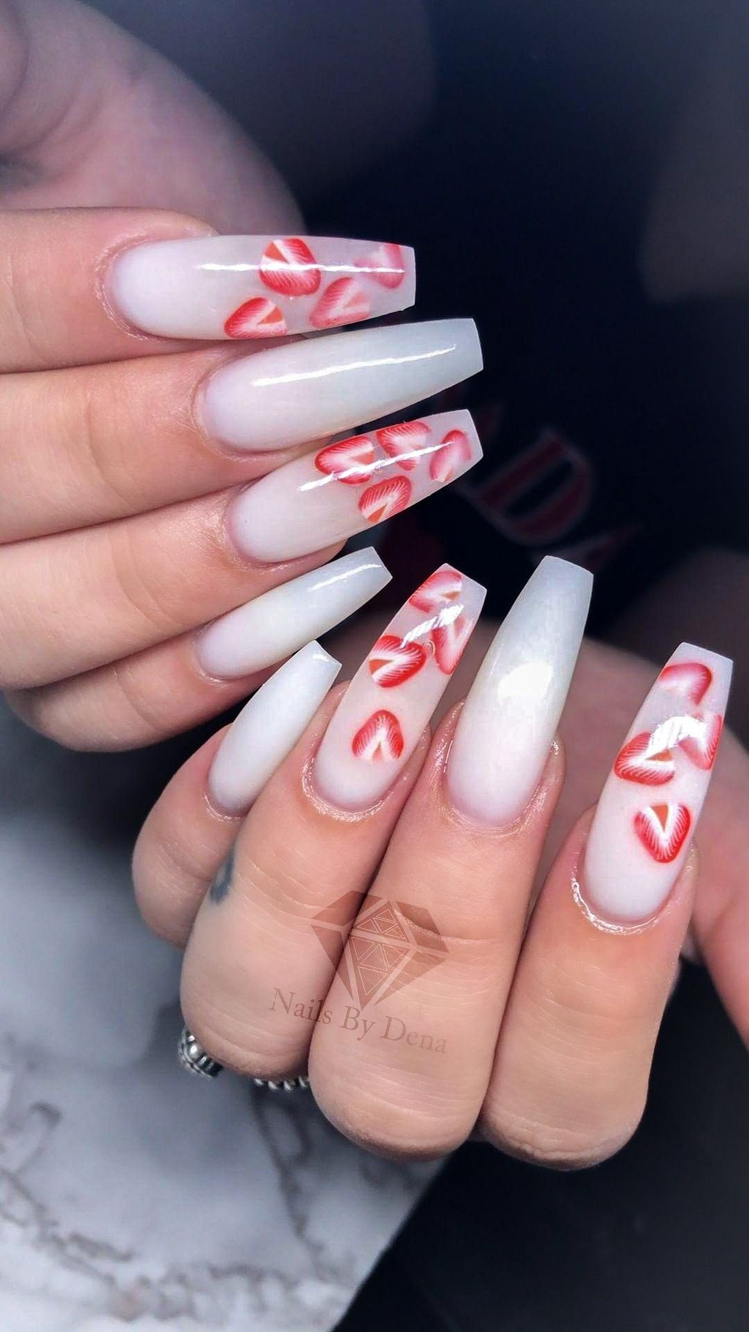 Milky Nails Strawberry Nails Fruit Nails Nails Design With Rhinestones White Acrylic Nails Coffin Nails Designs