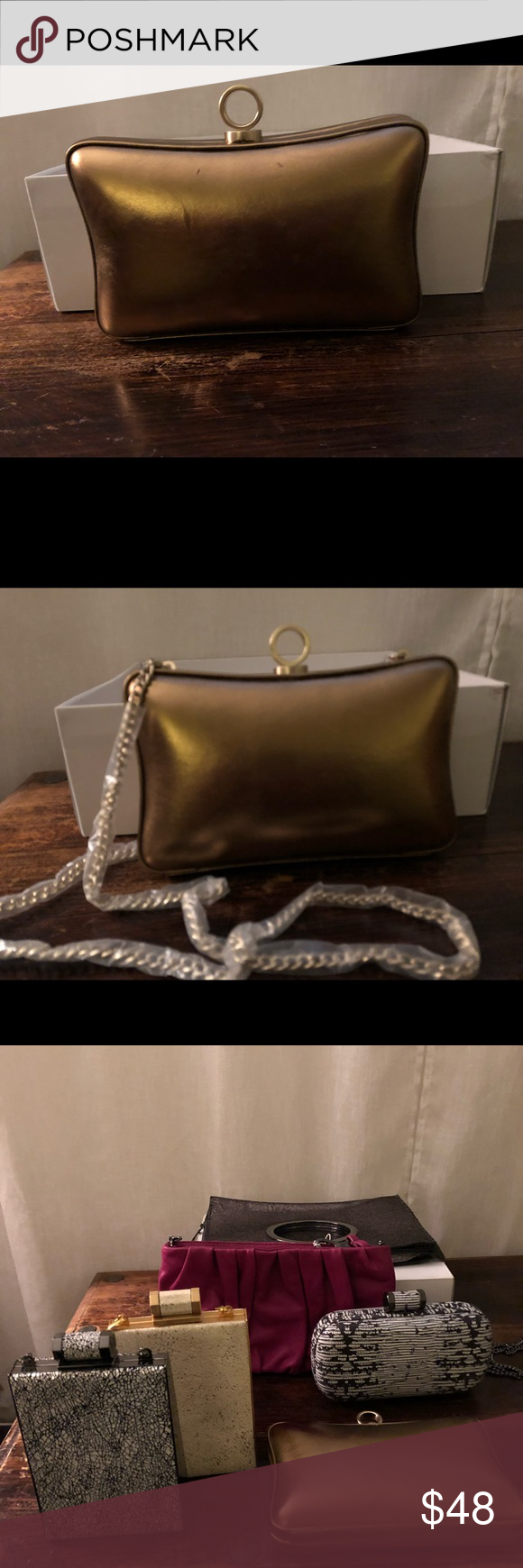 ffa924a4ead Halston gold clutch purse with chain straps Halston clutch purse with chain  straps Halston Heritage Bags
