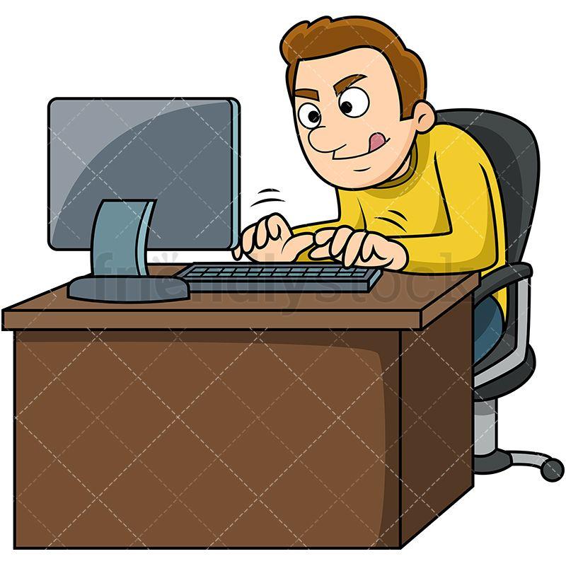 Man Typing Fast On Computer Cartoons Vector Cartoon Vector Illustration