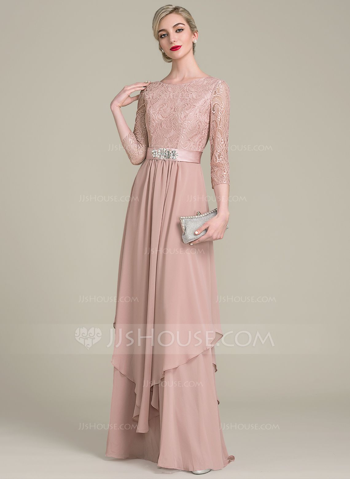 A-Line/Princess Scoop Neck Floor-Length Chiffon Evening Dress With ...