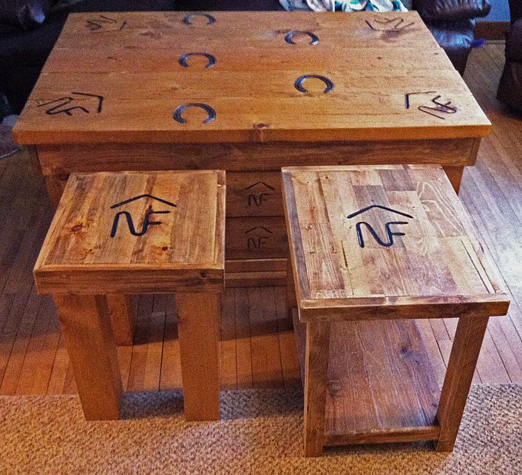 the second end table project | livestock branding, spruce pine and