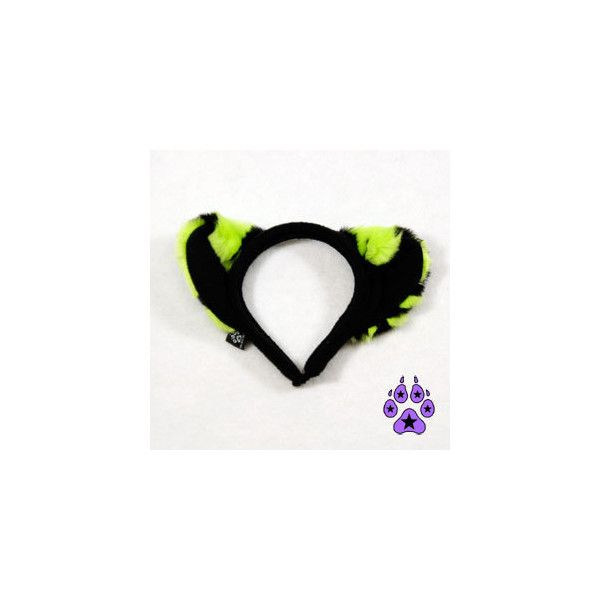 Lime Tiger Faux Fur Kitty Cat Ears Headband Black and Neon Green... ($18) ❤ liked on Polyvore featuring accessories, hair accessories, head wrap hair accessories, black hairband, black cat ears headband, black headband and headband hair accessories