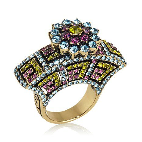 "Heidi Daus ""Greek Key"" Crystal-Accented Fan Ring"