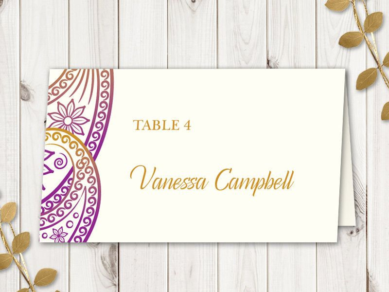 Wedding Place Card Template Paisley Purple And Gold Traditional Indian Style DIY