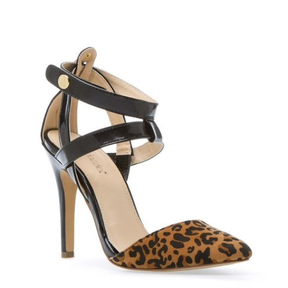 """Leopard Print Pump Black patent and leopard print pump. Snap closure at ankles. 4.25"""" heel. Single sole. Sizes 7. True to size. In original box. Shoe Dazzle Shoes Heels"""