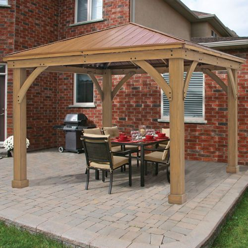 Cedar Wood 12' x 12' Gazebo with Aluminum Roof COSTCO - Cedar Wood 12' X 12' Gazebo With Aluminum Roof COSTCO Backyard