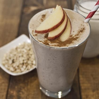 Apple Pie Smoothie (oats, cinnamon, nutmeg, almond butter, apple, So Delicious Dairy Free coconut milk)