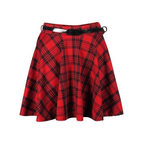 Red Tartan Belted Skater Skirt ($12) ❤ liked on Polyvore featuring skirts, red circle skirt, tartan skirt, skater skirts, red skirt and circle skirt