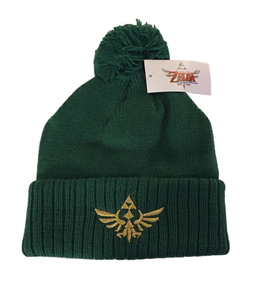 The Legend of Zelda Gold Embroidered Green Cuff Beanie Knit Hat NWT With  Pom  BW  Beanie f6982ab0cc37