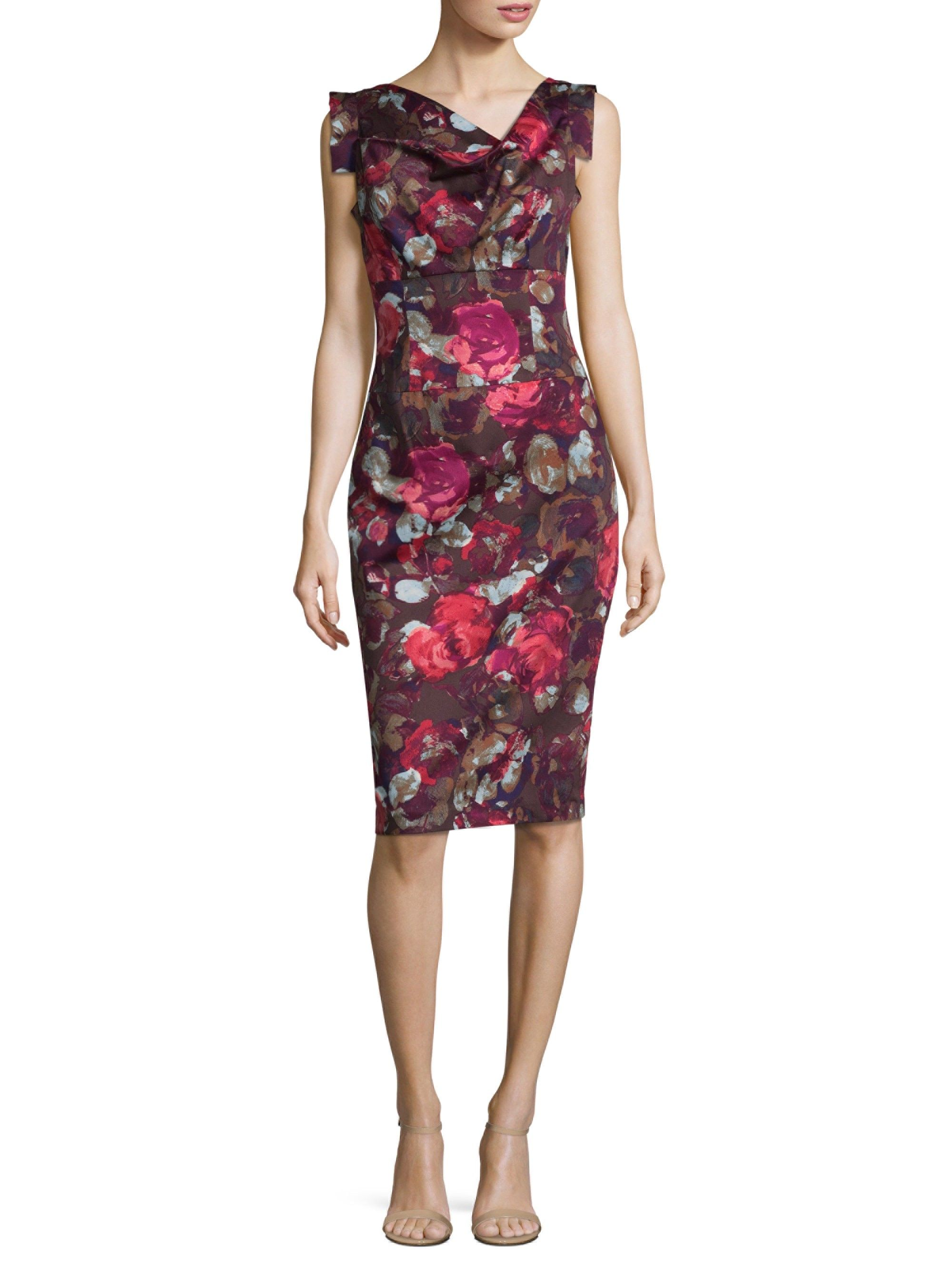 55cd2180 Jackie O Rose-Print Sheath Dress by Black Halo | Products | Floral ...